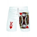 Unisex New Fashion Popular 3D Poker Printed Drawstring Waist Casual Relaxed Sweat Shorts