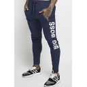 Men's Popular Fashion Letter BIG BOSS Printed Drawstring Waist Casual Sports Pencil Pants