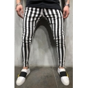 Men's New Fashion Colorblocked Stripe Pattern Black and White Skinny Pencil Pants