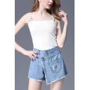 Summer Girls New Stylish Fringed Hem Ripped Denim Skorts Shorts