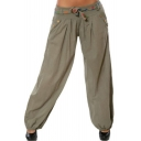Womens Hot Stylish Printed Metallic Button Embellished Self-Tie Casual Bloomer Pants