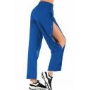 Womens Hot Sexy Plain Cutout Button Side High Waist Wide Leg Holiday Pants