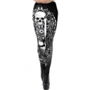 Fashion Womens Black Skull Skeleton Print High Waist Skinny Fitted Fancy Pants Leggings