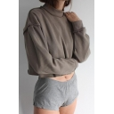 Womens Trendy Simple Plain High Neck Long Sleeve Casual Cropped Sweatshirt
