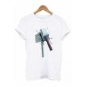 Popular Battle Axe Print Round Neck Short Sleeve White Tee