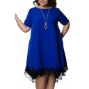 Womens Plus Size Trendy Elegant Plain Short Sleeve Lace Hem Patch Zip-Back Midi Oversize T-Shirt Dress