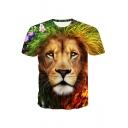3D Flower Lion Pattern Round Neck Short Sleeve T-Shirt