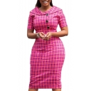 Womens Hot Fashion Pink Oversize Check Print Short Sleeve Button Down Lapel Commute Midi Dress for Special Occasion
