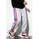 Unisex Trendy Letter Printed Contrast Stripe Side Drawstring Waist Elastic Cuffs Hip Pop Loose Track Pants