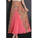 Summer Hot Popular Chiffon Floral Print Boho Elastic High Waist Pleated Maxi Skirt