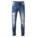 Men's New Stylish Splashing Ink Printed Frayed Ripped Jeans