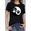 Funny Tai Chi Palm Claw Printed Basic Round Neck Short Sleeve Fitted T-Shirt