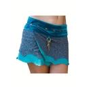 Womens Hot Sale Rivet Hardware Embellished Tribal Style Lace Patch Asymmetric Hem Mini Skirt