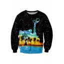 Fashion Black Starry Dropped Oil Painting Coconut Print Round Neck Casual Sweatshirt