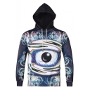 Cool Navy 3D Ball Print Long Sleeve Fitted Drawstring Hoodie