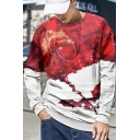 Red Fire Dragon Pattern Basic Round Neck Long Sleeve Pullover Sweatshirt