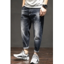 Men's Popular Fashion Vintage Washed Black Tapered Ripped Jeans