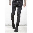 Men's Cool Fashion Solid Color Zipped Cuffs Slim Pleated Ripped Biker Jeans