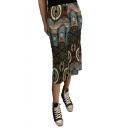 Fashion Hot Sale Tribal Print Zip Back Simple Loose Midi Flowy Skirt for Women