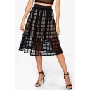 Summer Chic Hot Fashion High Waist Sheer Mesh Lace A-Line Midi Skirt