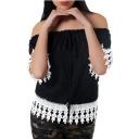 Hot Trendy Summer Simple Plain Off Shoulder Short Sleeve Tassel Trim Drawstring Lace Blouse