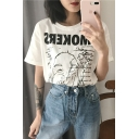 Fashion Vintage Chic Smokers Delight Letter Face Print Short Sleeve Round Neck Simple Loose T-Shirts