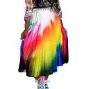 Summer Hot Trendy High Waist Tie Dye Casual Loose Pleated Midi Skirt