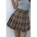 Summer Hot Stylish Vintage High Waist Check Print Pleated A-Line Cute Mini Skirt for Women