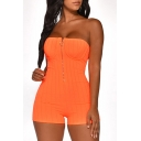Trendy Womens Plain Strapless Sleeveless Zip-Front Sexy Bustier Rompers for Nightclub