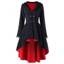 Womens New Trendy Color Block Chic Lace-Trimmed Long Sleeve Dipped Hem Lace-Up Back Longline Overcoat