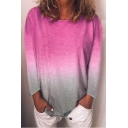 Summer Womens Trendy Ombre Color Round Neck Long Sleeve Loose Fitted T-Shirt