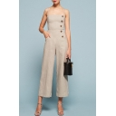 Summer Hot Fashion Grey Straps Sleeveless Button Embellished Vintage Cotton Jumpsuits