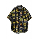 Summer Guys Funny Allover Hamburger Pattern Short Sleeve Cotton Loose Beach Shirt