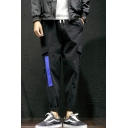 Guys Fashion Colorblock Tape Patched Flap Pocket Side Drawstring Waist Tapered Cargo Pants