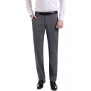 Mens Fashion Simple Plain Straight Tailored Suit Pants Business Dress Pants