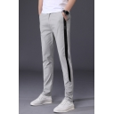 Fashion Colorblock Patched Side Slim Fitted Casual Dress Pants for Men