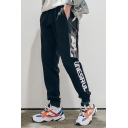 Guys New Fashion Figure Letter Printed Black Cotton Casual Drawstring Waist Sports Sweatpants
