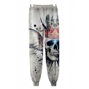 Unisex Cool Fashion Skull Printed Drawstring Waist Casual Relaxed Sweatpants