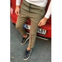 Men's Popular Fashion Simple Plain Zipper Pocket Zippered Vent Slim Cotton Pencil Pants