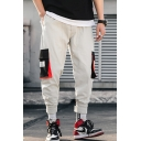 Men's New Stylish Letter Label Patched Colorblocked Flap Pocket Side Street Style Casual Cargo Pants