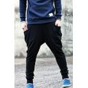 Men's Fashion Simple Plain Button Embellished Black Baggy Low Crotch Harem Pants with Side Pockets