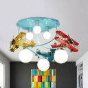 Blue Cloud LED Semi Flush Mount Light 6 Lights Modern Creative Metal Ceiling Light for Teen