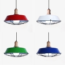 Warehouse Barn Pendant Light with Wire Frame Aluminum 1 Light Industrial Suspension Light