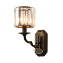 Candle Stair Bathroom Wall Light Metal One Light American Rustic Wall Lamp with Crystal in Black