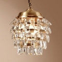 Three Lights Oval Chandelier with Crystal Elegant Metal Hanging Light in Gold for Stair Corridor
