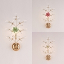 Twig Study Room Sconce Light with Blossom & Crystal Metal 1 Light Elegant Wall Lamp in Green/Pink/White