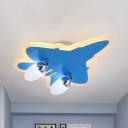 Modern Blue LED Ceiling Mount Light Airplane 2/4 Heads Acrylic Second Gear/White Flush Light for Kindergarten