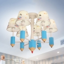 Lovely Pencil Hanging Light with Dog Pattern 6 Heads Fabric Chandelier in Blue for Baby Bedroom