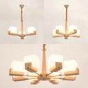 Frosted Glass Cube Chandelier Stair Living Room 3/5/8 Heads Nordic Style Ceiling Light in Beige
