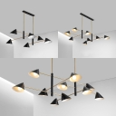 6/8/10 Lights Cone Chandelier Contemporary Metal LED Hanging Light in Black Finish for Restaurant